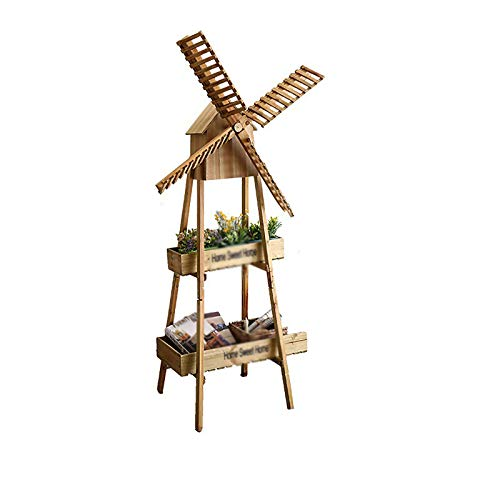 BJYXSZD Flower Shelf Multi Layer Indoor Balcony Pulley Mobile Rotatable Solid Wood Windmill Flower Stand