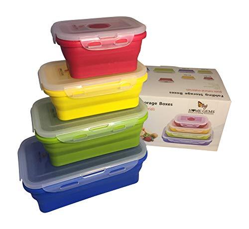 Contenitori pieghevoli in silicone per alimenti | multicolore |set di 4 pz rettangolari | chiusura ermetica | salvaspazio | a tenuta d aria | a prova di perdita | adatti per microonde e lavastoviglie