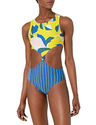 Maaji Women's Spin Reversible Four Way One Piece Swimsuit, Sunflower Yellow Geo, Medium