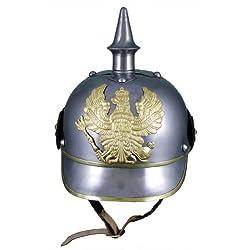 German 19Th Cent. Helmet - Pickelhaube - In Steel W/ Brass Trim