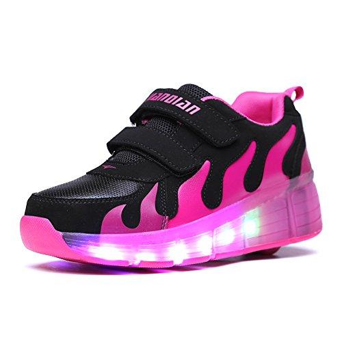 Good-time Kinder Junge Mädchen Led Schuhe Sneaker Mit Rollen 7 Farbe Farbwechsel Wheels Skate Schuhe(Schwarze Rose,34 EU)
