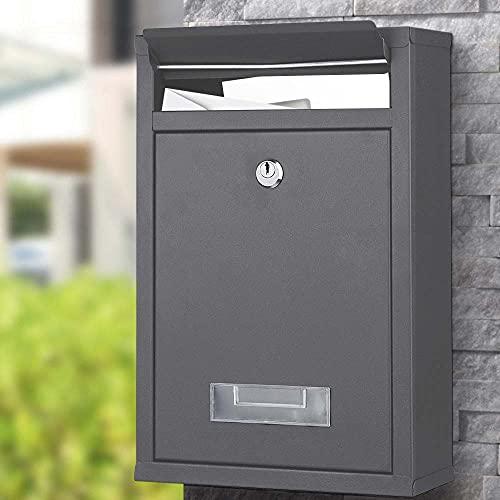 Bakaji Cassetta Postale da Parete in Acciaio Galvanizzato Buca Lettere per Posta da Esterno con Chiusura a Chiave (Grigio Antracite)