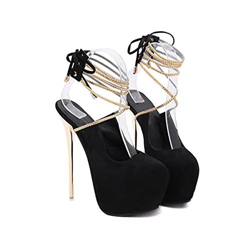 6.69IN Tacones De Mujer Sandalias Peep Plataforma De Mujer Punta Abierta Tacón Alto Bombas De Tacón Grueso Sexy Pole Dance Striptease Zapatos Zapatos De Corte,Negro,40 EU