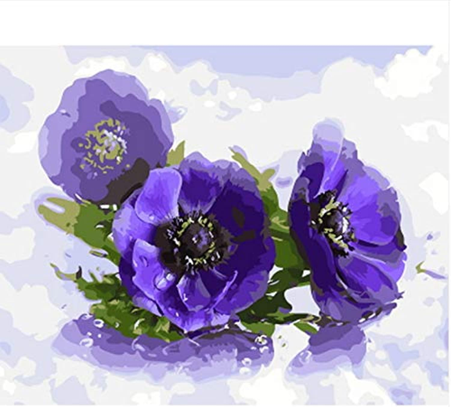 CAYYOU DIY picture oil painting by numbers wall decor painting on canvas for home decor bluee poppy, Framed, 50x60cm
