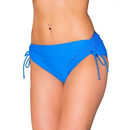 Aquarti Damen Bikinihose mit Raffung und Schnüren, Farbe: Hellblau, Größe: 46