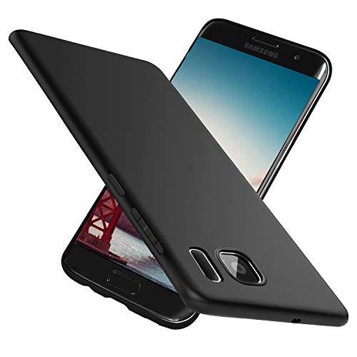 Ylife Kompatibel mit Samsung Galaxy S7 Hülle,Slim Schwarz Fallschutz rutschfest Hochwertig TPU Weiche Schutzhülle,Anti-Kratzer Anti-Fingerabdruck Feine Matte Handyhülle für Samsung Galaxy S7