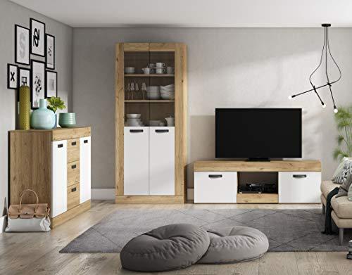 Miroytengo Pack Muebles salón Comedor Argos Color Blanco y Naturale Estilo Moderno (Mesa TV + aparador + Vitrina)
