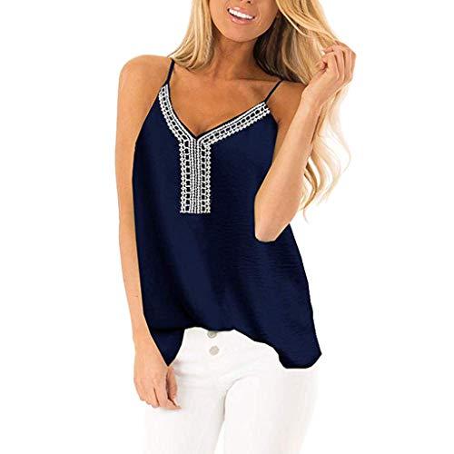 Janly - Chaleco informal para mujer, cuello en V, bordado, suelto, sin mangas, sin espalda, para mujer, color azul (S)