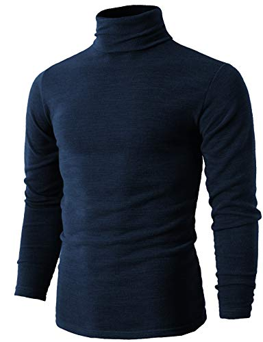 H2H Mens Lightweight Long Sleeve Rib Turtleneck Top Pullover Sweater Navy US L/Asia 3XL (KMTTL028)