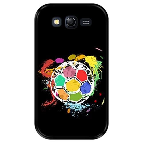 Hapdey Custodia per [ Samsung Galaxy Grand Lite - Grand Neo - Neo Plus ] Disegni [ Pallone da Calcio Astratto e Multicolore ] Cover Guscio in Silicone Flessibile Nero TPU