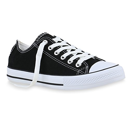 stiefelparadies Herren Sneaker High Basic Schnürschuhe Turnschuhe Freizeit Schuhe 155409 Schwarz Cabanas 44 Flandell