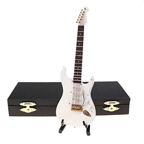 Kamenda Guitarra eléctrica en miniatura de madera con soporte y estuche para instrumentos musicales en miniatura, modelo de casa de muñecas 14 cm, color blanco