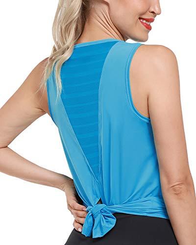 Promover Camiseta sin Mangas de Malla para Entrenamiento para Mujer Camiseta de Yoga Camisetas de Gimnasia sin Mangas con Espalda Abierta Ropa Deportiva Informal