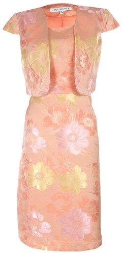 Nipon Boutique Suit A-Line Dress & Bolero Cap Sleeve Jacket Peach Multi (10)
