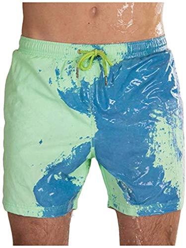 Shorts de Playa sensibles para Hombres Que cambian de Color Traje de baño Deportivo de Verano Bañador de Surf Secado rápido (Verde, XL)