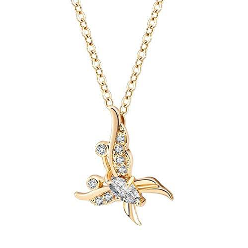 Pendentif Papillon Classique avec Collier pour Femme, décoration en Zircon avec Strass avec chaîne en plaqué Or 18 Pouces pour la soirée Quotidienne