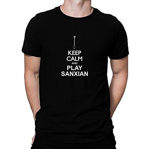 Teeburon Keep calm and play Sanxian silhouette T-Shirt