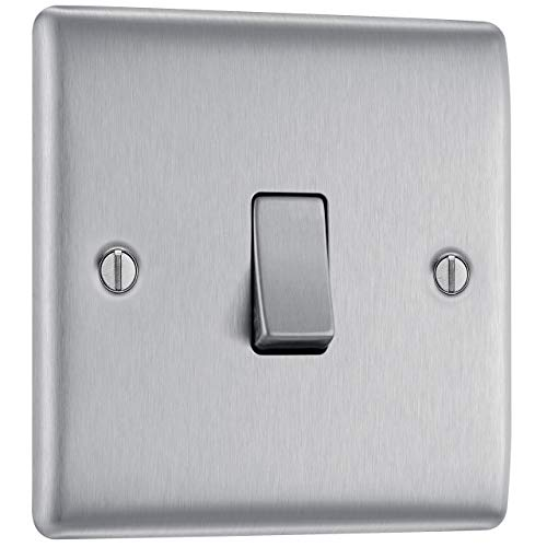 BG Electrical NBS12-01 Single Light Switch, Brushed Steel, 2-Way, 10AX