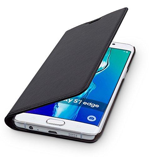 WIIUKA Echt Ledertasche - TRAVEL - für Samsung Galaxy S7 Edge mit Kartenfach, extra Dünn, Tasche Schwarz, Leder Hülle kompatibel mit Samsung Galaxy S7 Edge