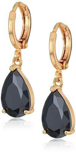 Orecchini a goccia placcati in oro da 18 ct, con cerchio e pietre austriache nere di zirconi