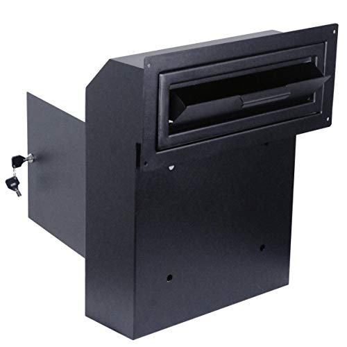 Door Drop Box for Mail, Rent, Deposit, and Night Key - Wall Mount Locking Mailbox with Rear Access Through The Door