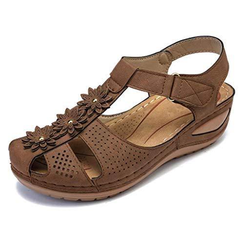 Women's Sandal Closed Toe Buckle Strap Hollow Wedge Platform Ankle Length Comfortable Ladies Shoes