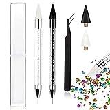 Kalolary 2 bolígrafos de punteado de diamantes de imitación, herramienta de recogida de tachuelas de gemas de uñas con 2 pinzas y cabezas de cera reemplazables
