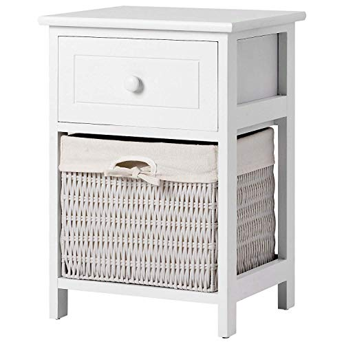 H-CAR Bedside Table With Basket White Chest Of Drawers Solid Wood Nightstand Cabinet Storage Unit Organizer Cabinet For Living Room Bedroom Hallway