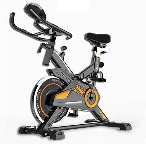 Girar la bici, LCD multifunción Lee ritmo cardíaco Tiempo etc, Asiento ajustable Manillar Resistencia, bicicleta estática electromagnética for el hogar con el teléfono móvil repisa móvil con la rueda