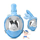 KNMY Maschera da Snorkeling per Bambini, Maschera da Snorkeling a Pieno Facciale, Visione a 180 °, Anti-nebbia e Anti-perdite Maschere Subacquee(Blu)