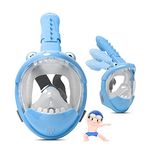 KNMY Máscara de Buceo para Niños, Máscara de Snorkel de Cara Completa, Visión de 180°, Antivaho y Antifugas Máscaras de Buceo(Azul)
