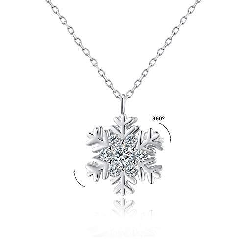 VEECANS Collar Mujer Plata Puede Girar 360 °con Colgante Giratorio de Copos de Nieve de Circonita Swarovski, Extensión 45+3cm, Regalo para el Día de la Madre, Día de San Valentín y Navidad