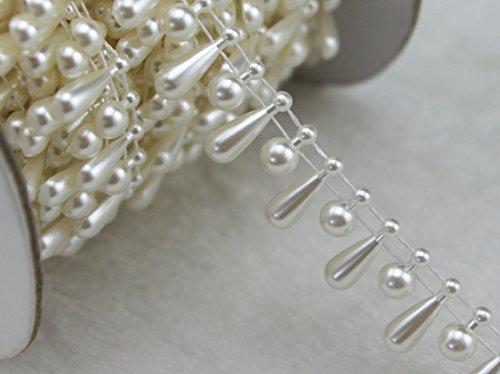 "10 Yards 3/5"" Width Ivory Teardrop Pearl Rhinestone Chain Sew On Trims Wedding Dress Decoration LZ97"