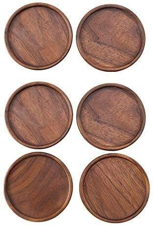 Yadianna Fees free!! 6 Pcs Wood Coasters Resistan Round Placemats discount Heat Decor