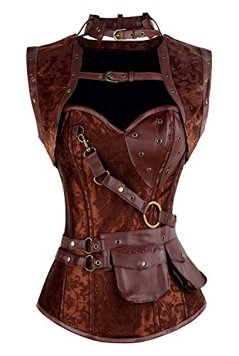 Charmian Women's Retro Goth Spiral Steel Boned Brocade Steampunk Bustiers Corset with Jacket and Belt Brown Small