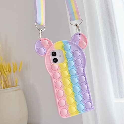 """Pop Bubbles Phone Case for iPhone 6/6S/7/8/SE with Lanyard & Strap,Kawaii Fidget Toy Mickey Mouse Design Soft Silicone iPhone Case for Girls iPhone (for iPhone 6/6S/7/8/SE 2020 4.7"""")"""