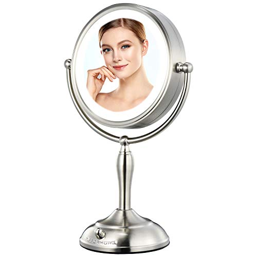 MIRRORMORE 8.5' Vanity Mirror with Lights, 1X/10X Magnifying Mirror with 3 Color Lighting Modes, (0-1100Lux)Dimmable Lighted Makeup Mirror with 32 LEDs Lights, Plug in or Cordless, Senior Pearl Nickel