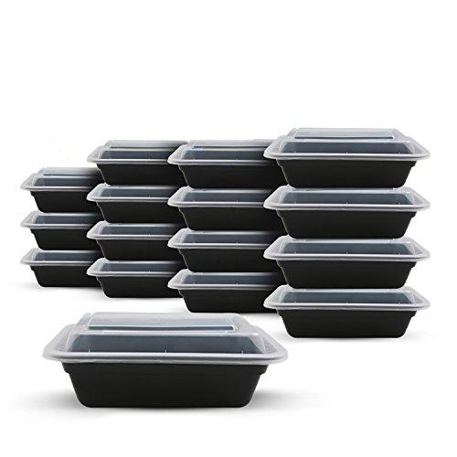 Fitpacker contenedores para la comida preparatoria 28 onzas Sin BPA Paquete de 10 Negro