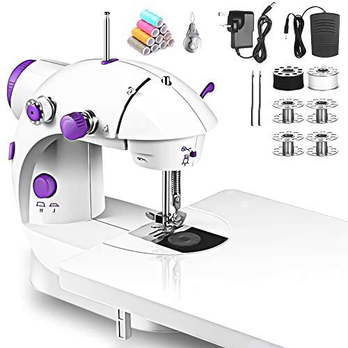 qipuneky Mini máquina de Coser, Máquina de Coser Multifuncional Portátil, Alambre Doble Ajustable, Adecuado para la Familia, Viajes, Principiantes (Normas Europeas)