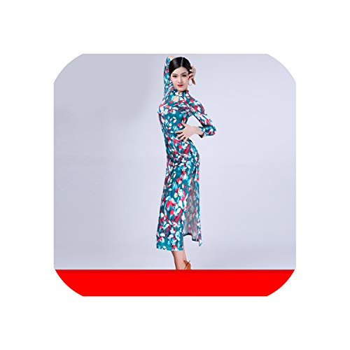Latin Dance Clothes Loaded New Adult Female Long-Sleeved Dress Cheongsam Practice Performance Exercise Suit Set,Green Fat Red Skinny,XXL
