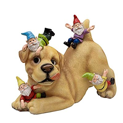 TERESA'S COLLECTIONS Dog Garden Gnome Statue, Outdoor Lawn Gnome Funny Dog Garden Statue Decoration - Best Art Decor for Home Yard Or Office 9 Inches Tall