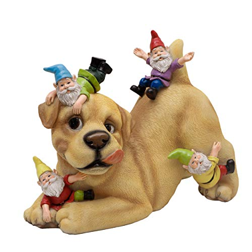 TERESA'S COLLECTIONS Dog Gnome Garden Statue and Sculpture, Funny Dog Playing with Gnomes, Resin Outdoor Lawn Gnome Yard Art for Patio Decoration 9 inch