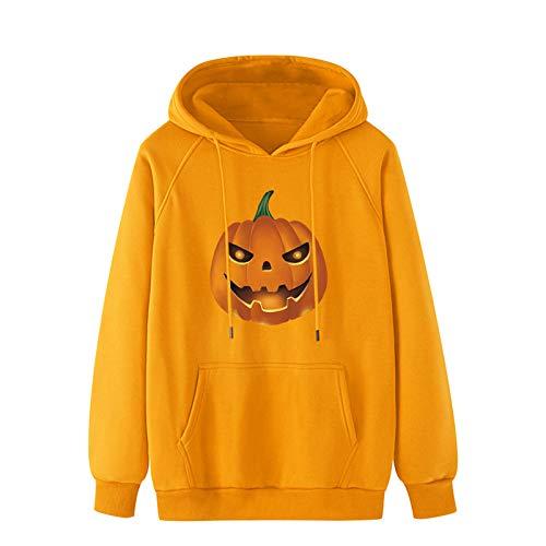 WHDJ Männer Halloween Hoodies und Loose Sweatshirt, Pumpkin Cartoon Hoodie mit Kangaroo Pocket, Pullover Drawstring Plain Langarm Hooded Jacket