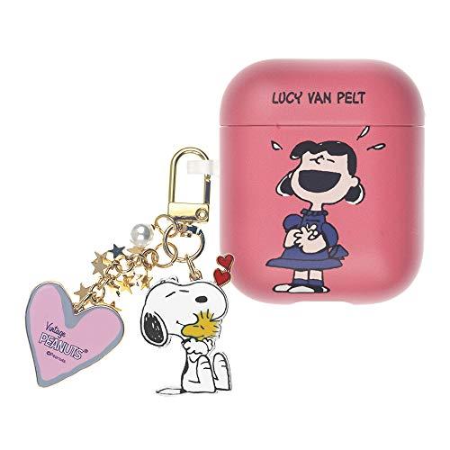 Peanuts Lucy Van Pelt ピーナッツ ルーシー ヴァン ペルト AirPods と互換性があります ケース スヌーピー キーホルダー エアーポッズ用ケース 硬い スリム ハード カバー (ハッピー ルーシー) [並行輸入品]