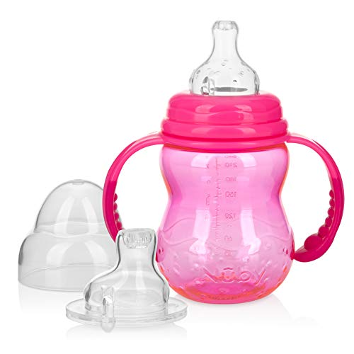 Nuby 3 Stage Tritan Wide Neck Grow with Me No-Spill Bottle to Cup, 8 Oz, Pink