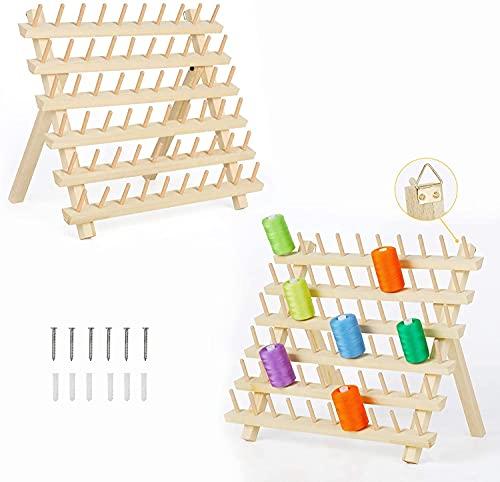 LIANTRAL 60 bobine per filo da cucito, confezione da 2 pezzi, porta filo di legno, organizer da cucito con gancio per appendere e cucire fili