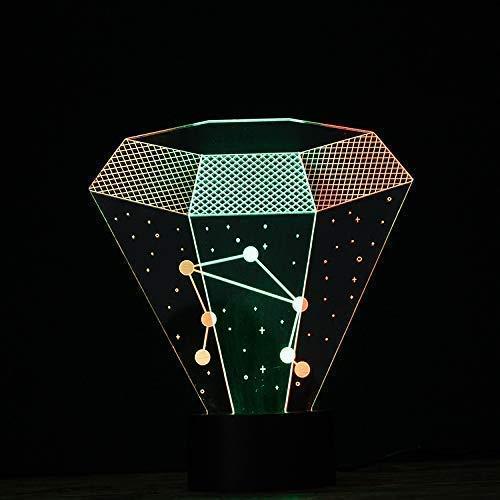 Preisvergleich Produktbild Zwölf Sternbild Waage 3D Led Vision Nachtlicht Schreibtischlampe 7 Farben Bunte Farbverlauf Kind Geburtstagsfeier Party Geschenke