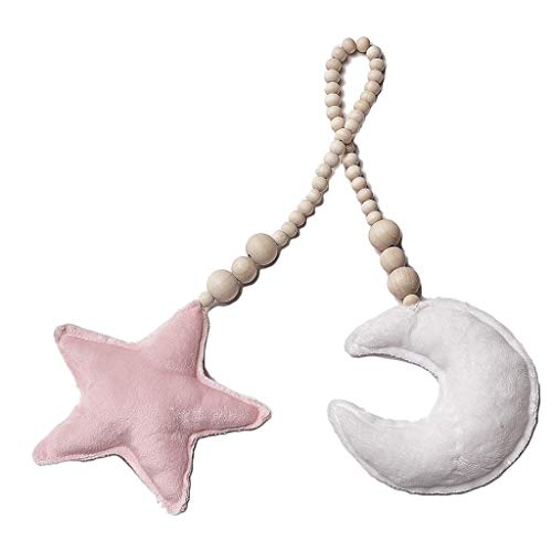 Kdjsic Unique Moon Stars Cuentas de Madera Cuerdas Juguete Decoración para bebés Almohada Niños Cama Habitación Cuna Tienda Decoración Adornos
