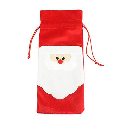ZHDXW Santa Claus Navidad botella de vino tinto bolsas para decoración del hogar fiesta cena fiesta decoración decoración Navidad regalo