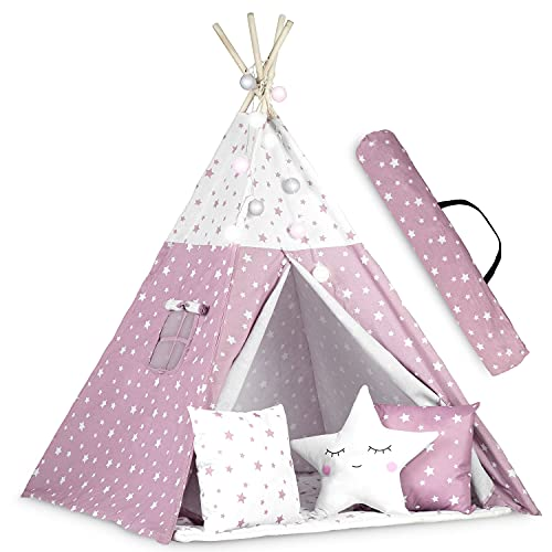 Ricokids - Tienda de campaña para niños, algodón, con 3 Cojines, colchón